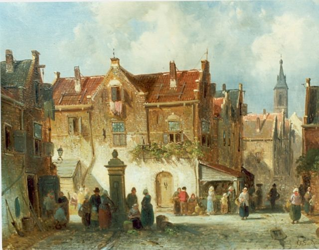 Charles Leickert | Village square, oil on panel, 20.6 x 27.0 cm, signed l.r.