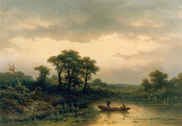 Johannes Hilverdink | A moonlit river landscape, oil on canvas, 66.0 x 95.0 cm, signed l.l. and dated 1884