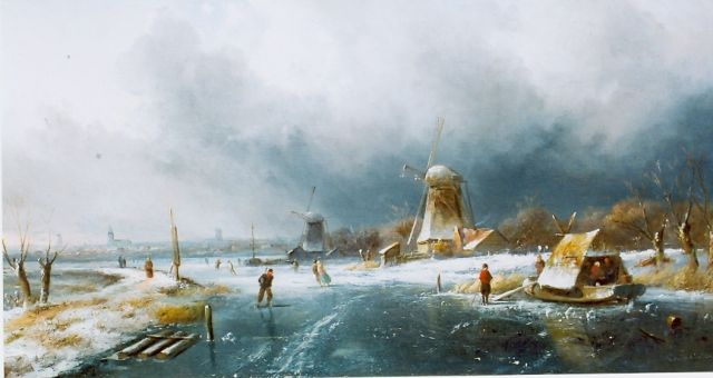 Charles Leickert | Skaters on a frozen waterway, oil on panel, 300.0 x 420.0 cm, signed l.r.