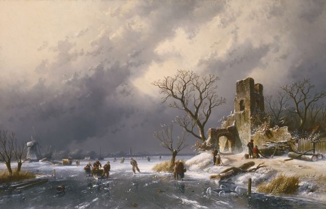 Charles Leickert | Winter fun, oil on canvas, 62.7 x 98.5 cm, signed l.r.