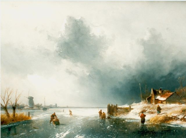 Charles Leickert | Skaters on a frozen waterway, oil on panel, 37.5 x 52.0 cm, signed l.l.