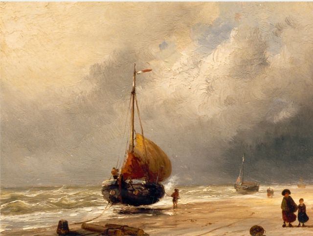 Charles Leickert | Beached boats, oil on panel, 20.6 x 27.1 cm, signed l.r.