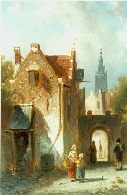 Charles Leickert | Figures in a sunlit street, oil on panel, 11.4 x 9.1 cm, signed l.l.
