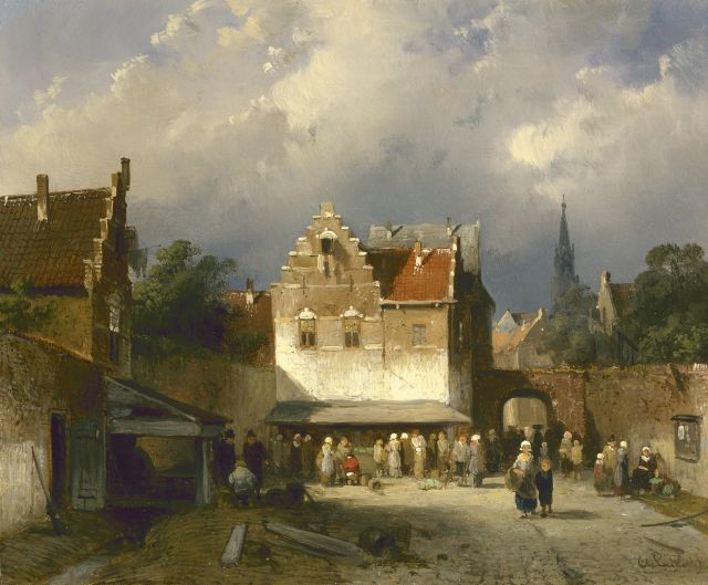 Charles Leickert | Market day, Amsterdam, oil on panel, 17.5 x 20.9 cm, signed l.r.