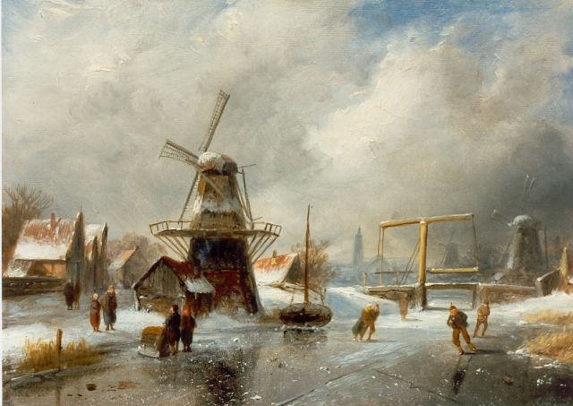 Charles Leickert | Skaters on the ice, Overtoom Amsterdam, oil on panel, 18.0 x 26.5 cm, signed l.r.