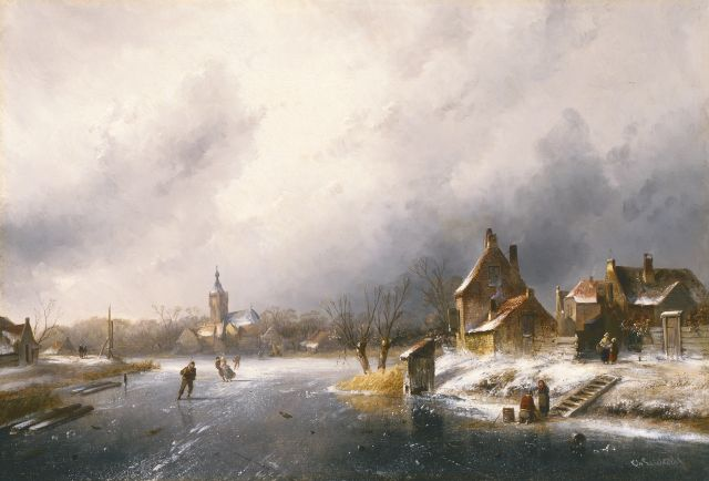 Charles Leickert | A winter landscape with skaters on the ice, oil on canvas, 45.0 x 65.5 cm, signed l.r.