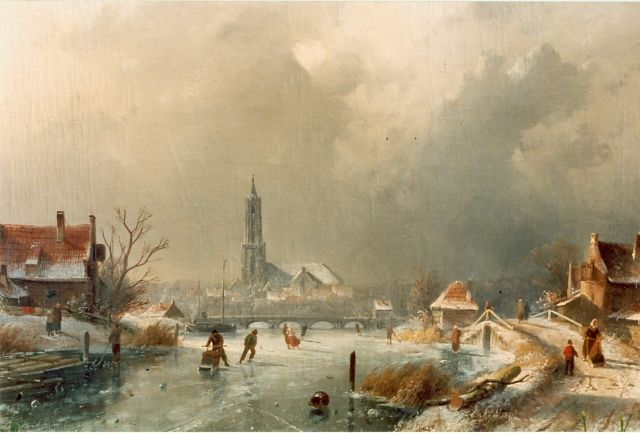 Leickert C.H.J.  | Skaters on the ice,  Amersfoort in the distance, oil on canvas, 44.5 x 65.5 cm, signed l.l.
