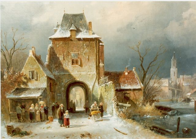 Charles Leickert | Figures by a town-gate, oil on canvas, 30.0 x 36.2 cm, signed l.r.