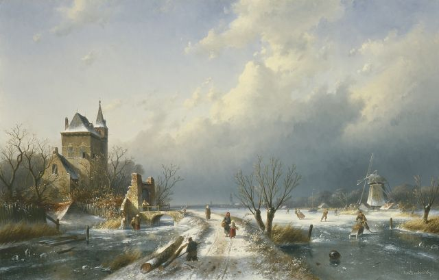 Charles Leickert | A winter landscape, oil on canvas, 61.5 x 95.6 cm, signed l.r. and dated '70