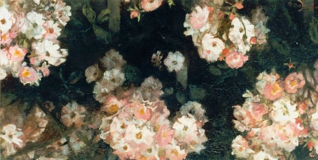 Jacobus van Looy | Pink flowers, oil on panel, 24.7 x 50.2 cm, signed l.l.