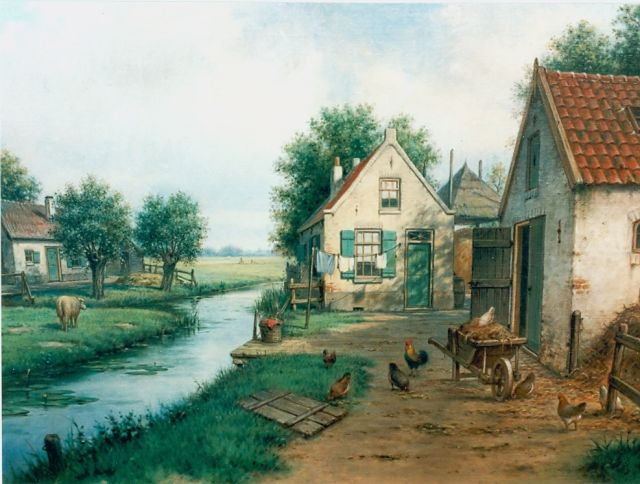 Marinus Adrianus Koekkoek II | Poultry on a yard, oil on canvas, 49.0 x 70.0 cm, signed l.r.