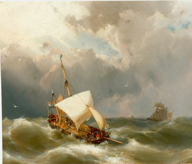 Hermanus Koekkoek jr. | Sailing boat in distress, oil on panel, 21.2 x 25.9 cm, signed l.r.