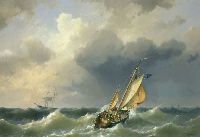 Hermanus Koekkoek jr. | A sailing vessel at sea with Texel in the distance, oil on canvas, 65.2 x 94.7 cm, signed l.r. and dated 1859