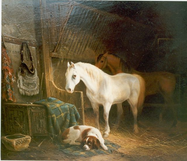 August Knip | Stable mates, oil on panel, 34.7 x 40.5 cm, signed u.l.