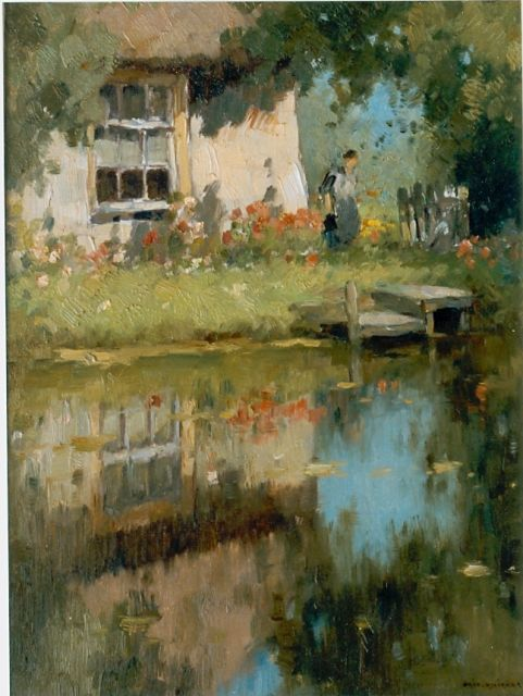 Aris Knikker | Farm along a waterway, oil on canvas, 38.5 x 28.3 cm, signed l.r.