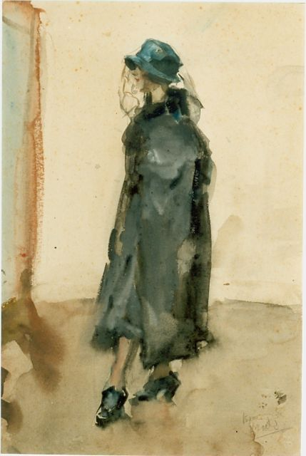 Isaac Israels | An elegant lady, watercolour on paper, 26.0 x 37.5 cm, signed l.r.