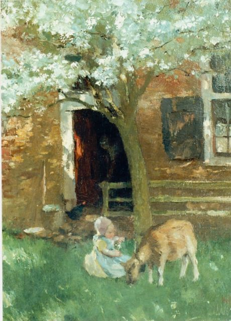 Albert Neuhuys | A yard with a girl and goat, oil on canvas, 50.5 x 38.8 cm, signed l.r.