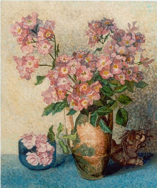 Jakob Nieweg | Pink flowers in a vase, oil on canvas, 59.5 x 50.0 cm, signed l.r.