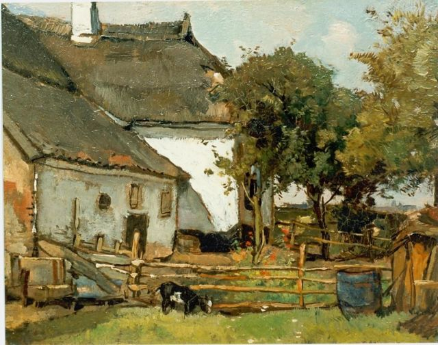 Johannes Evert Hendrik Akkeringa | A farm, oil on canvas, 21.0 x 27.0 cm, signed l.r.