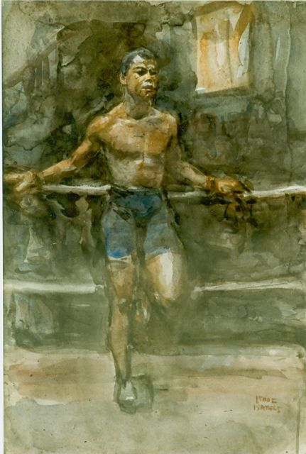 Israels I.L.  | Boxer, watercolour on paper
