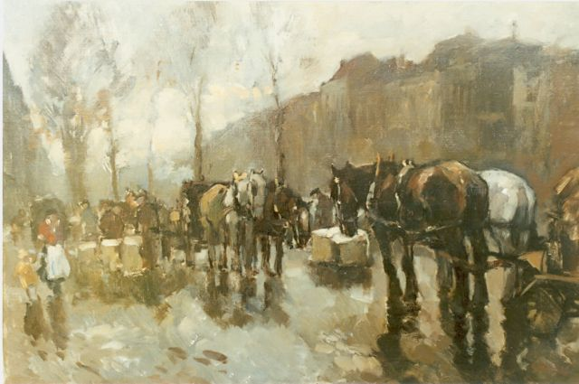 Cor Noltee | Horse-drawn carriages, oil on canvas, 50.5 x 70.0 cm, signed l.r.
