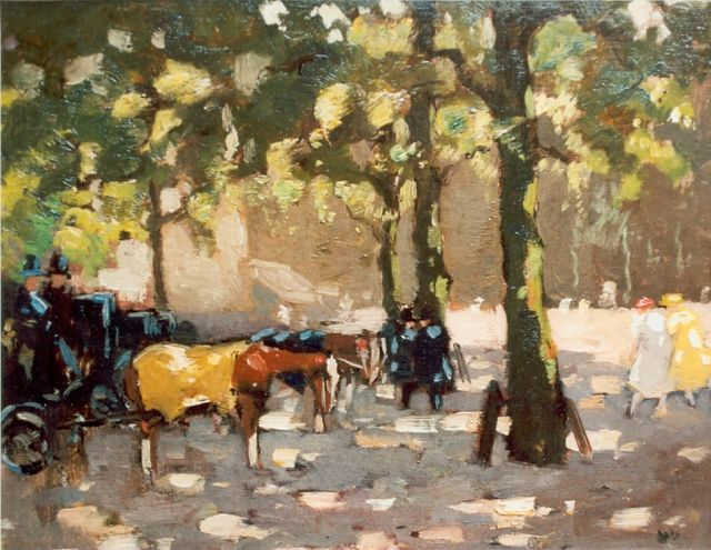 Cor Noltee | Horse-drawn carriage, oil on canvas laid down on panel, 32.5 x 43.4 cm