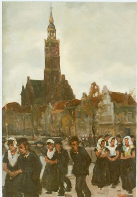 Cor Noltee | Church attendance, Veere, oil on canvas, 50.0 x 35.0 cm, signed l.r.