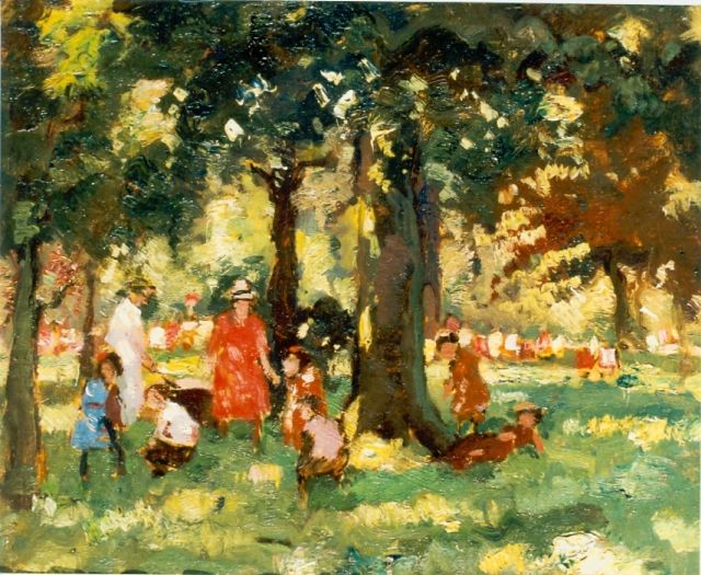 Cor Noltee | Children playing, oil on canvas laid down on panel, 37.0 x 45.0 cm