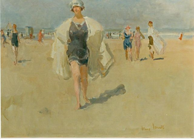 Israels I.L.  | Elegant lady on the beach, oil on canvas, 60.0 x 80.0 cm, signed l.r.