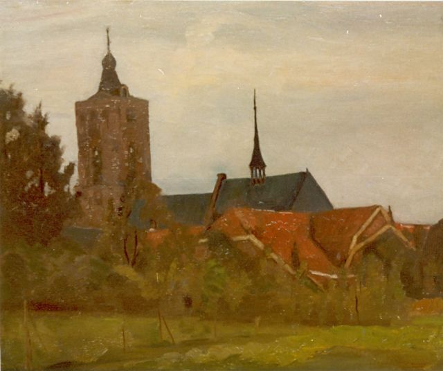 Cor Noltee | Church, oil on panel, signed l.r.