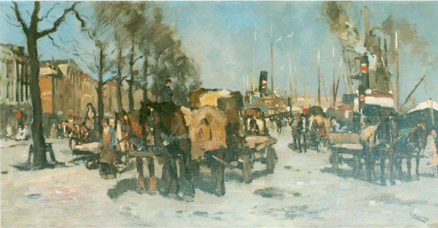 Cor Noltee | Provisioning the ships, oil on canvas, 50.0 x 100.0 cm, signed l.r.