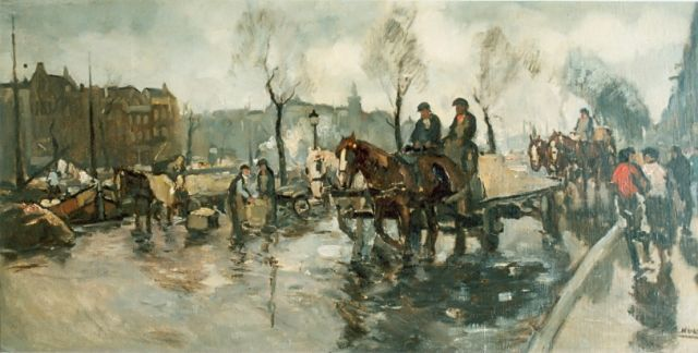 Cor Noltee | Horses on canal, oil on canvas, 50.0 x 100.0 cm, signed l.r.