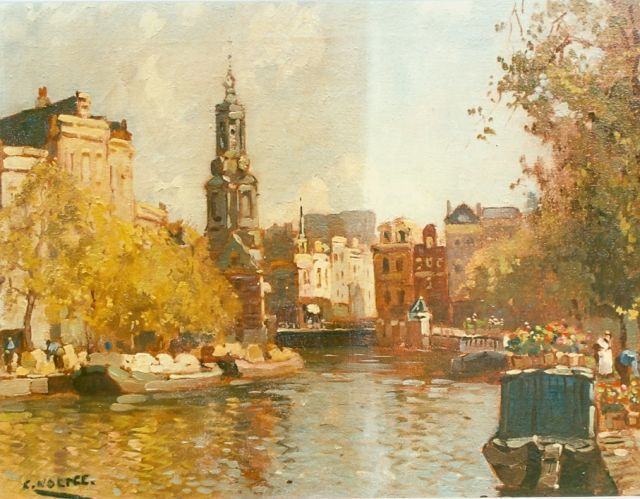 Cor Noltee | Moored boats in a canal, Amsterdam, oil on canvas, signed l.l.