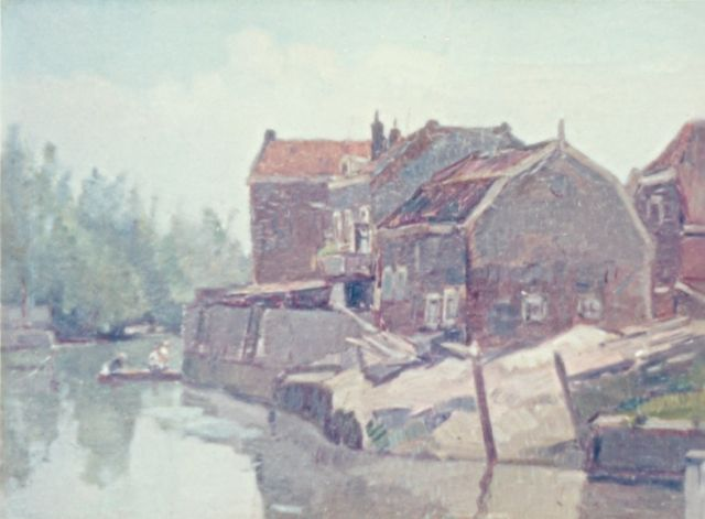 Cor Noltee | Houses along a waterway, oil on canvas