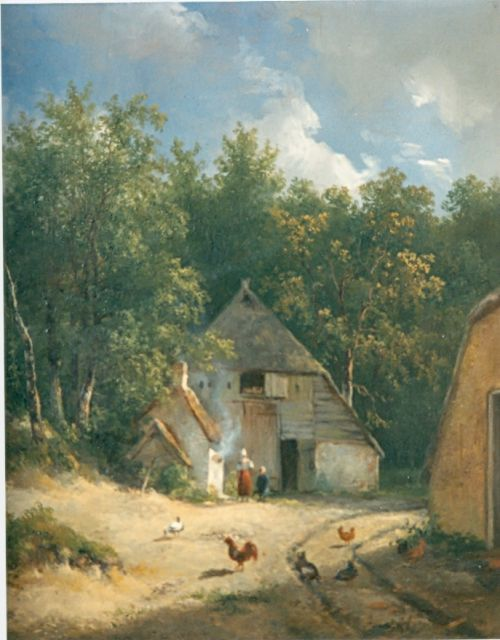 Wijnand Nuijen | A yard with chickens, oil on canvas