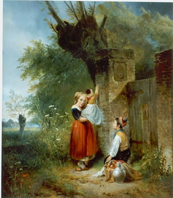 Wijnand Nuijen | Children in front of gate, oil on canvas