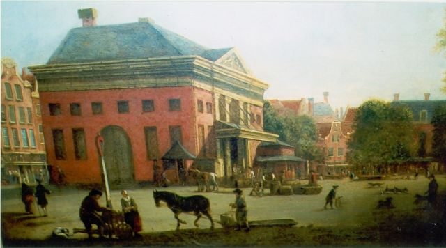 Isaac Ouwater | Village square, oil on canvas
