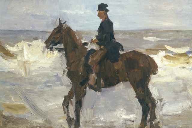 Israels I.L.  | Rider on the beach, oil on canvas laid down on panel, 37.4 x 55.5 cm