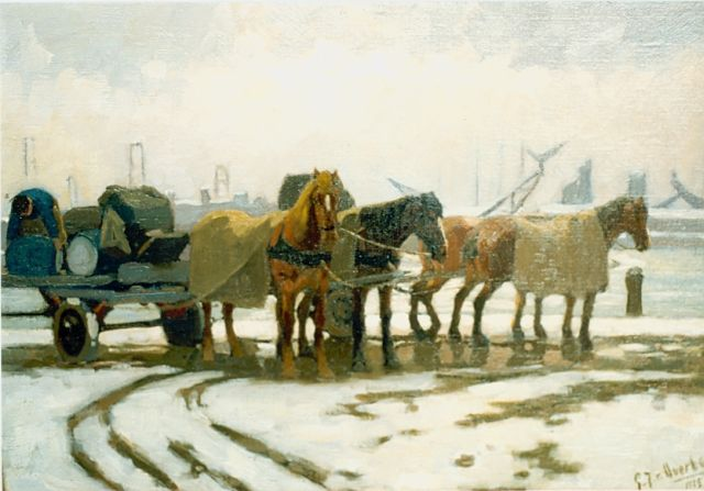 Gijsbertus Johannes van Overbeek | Horse-drawn cart in a snow-covered landscape, oil on canvas, 35.0 x 50.0 cm, signed l.r. and dated 1919