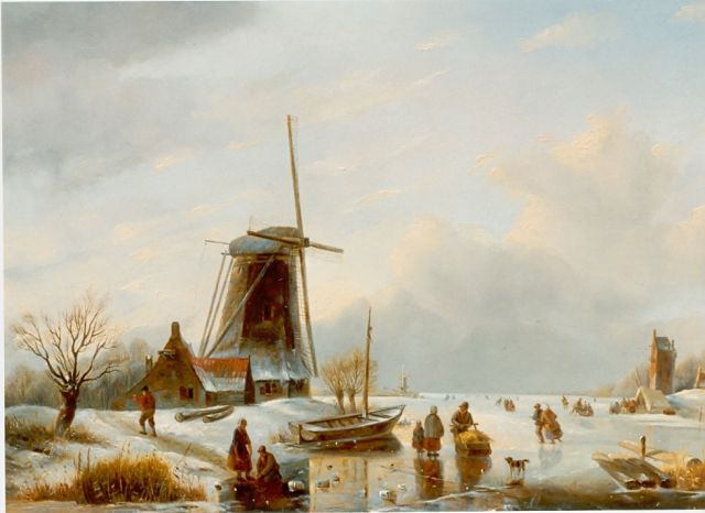 Matthias Parré | A winter landscape with skaters on the ice, oil on panel, 47.3 x 63.2 cm