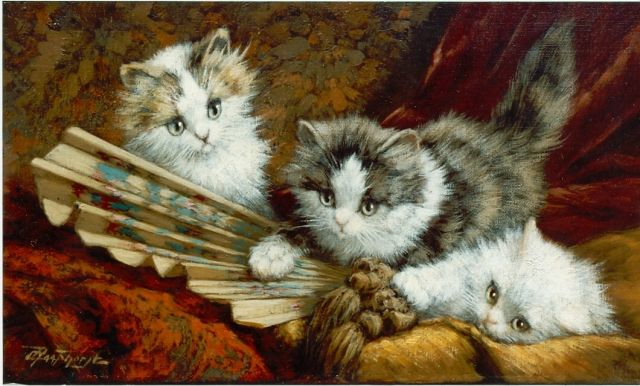 Cornelis Raaphorst | Kittens playing with a fan, oil on canvas, 20.0 x 35.0 cm, signed l.l.