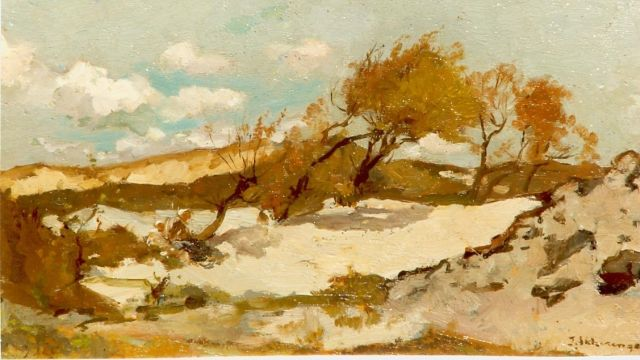 Johannes Evert Hendrik Akkeringa | Behind the dunes, oil on canvas, 13.0 x 20.0 cm, signed l.r.