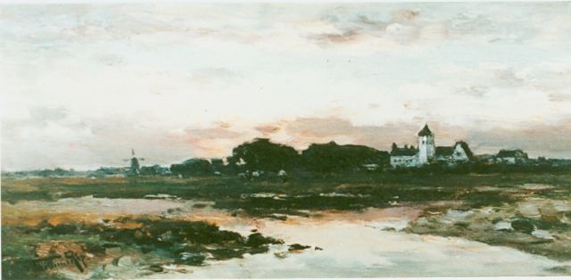 Willem Rip | Sunset, oil on canvas, 22.0 x 45.2 cm, signed l.l.