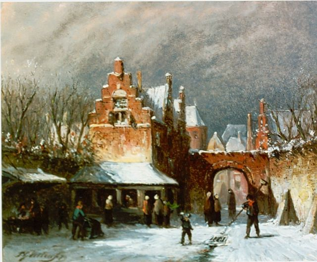 Petrus Gerardus Vertin | Townscape in winter, oil on panel, 13.8 x 16.7 cm, signed l.l. and dated '79