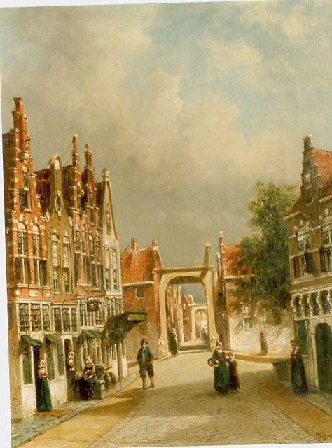 Petrus Gerardus Vertin | A sunlit Dutch town, oil on canvas, 44.1 x 34.4 cm, signed l.r. and dated '88