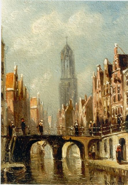Petrus Gerardus Vertin | A town view with the Dom of Utrecht, oil on panel, 11.8 x 8.3 cm, signed l.r.
