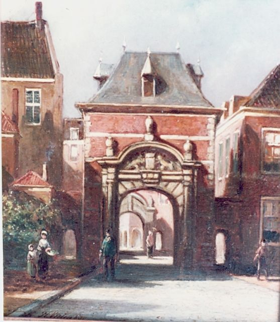 Petrus Gerardus Vertin | 'Grenadierspoort Binnenhof', The Hague, oil on panel, 15.0 x 19.0 cm