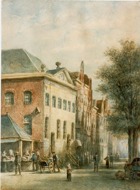 Petrus Gerardus Vertin | Market day, watercolour on paper, 35.6 x 29.7 cm, signed l.r. and dated 1891