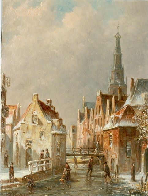 Petrus Gerardus Vertin | Holland in winter, oil on panel, 23.0 x 18.0 cm, signed l.l. and dated '91
