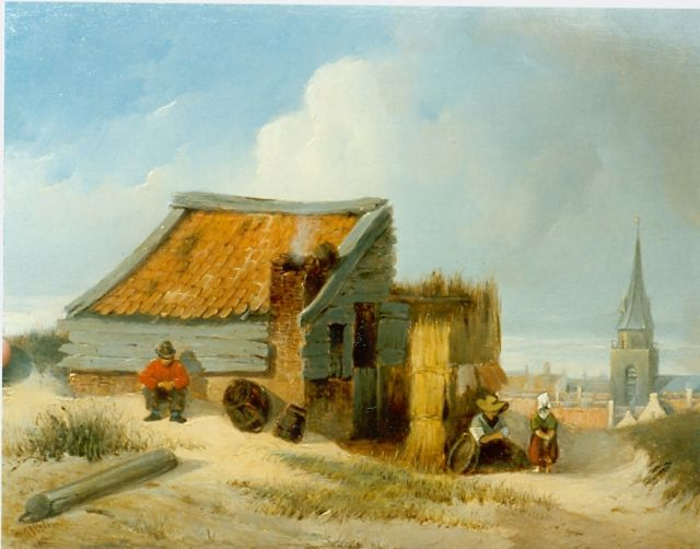 Petrus Gerardus Vertin | Figures in the dunes, with Scheveningen beyond, oil on panel, 22.0 x 28.5 cm, signed l.l. and dated 1840